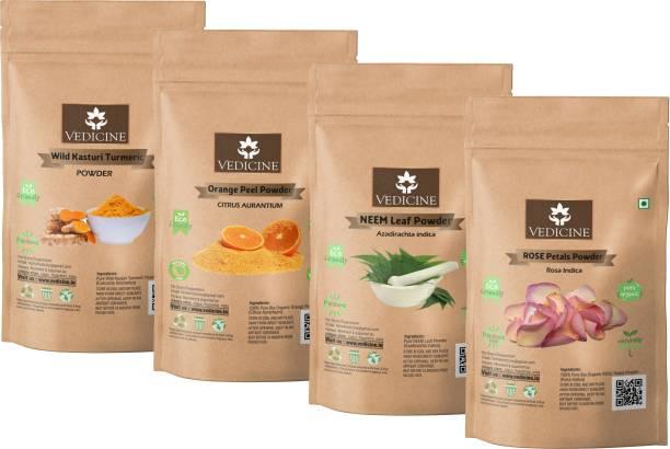 VEDICINE Pure Wild Kasturi Amba Haldi Turmeric Orange Peel Rose Petal Neem Leaf Powder for Face and Skin