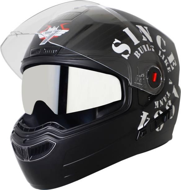 Steelbird SBA-1 TANK Double Visor Full Face Graphics Helmet, Inner Silver Sun Shield Motorbike Helmet