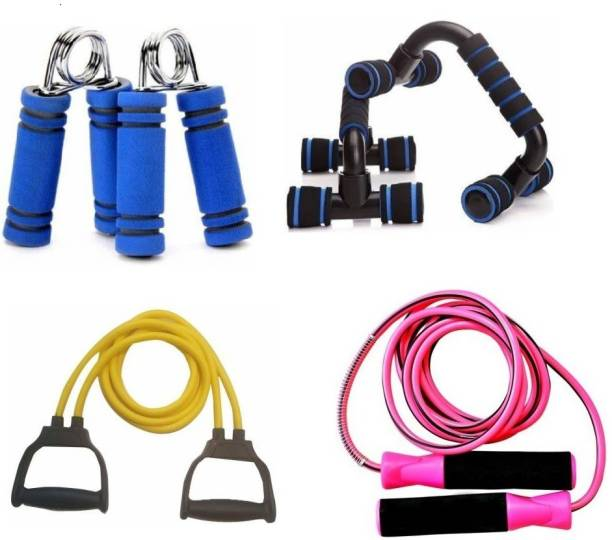vyas Home Gym Fitness Sports & Fitness Kit of Push Up Bar, 1Pair Of Hand Grip, 1 Skipping Rope And 1 Pull Rope Resistance Band Toning Tube multi colour Gym & Fitness Kit
