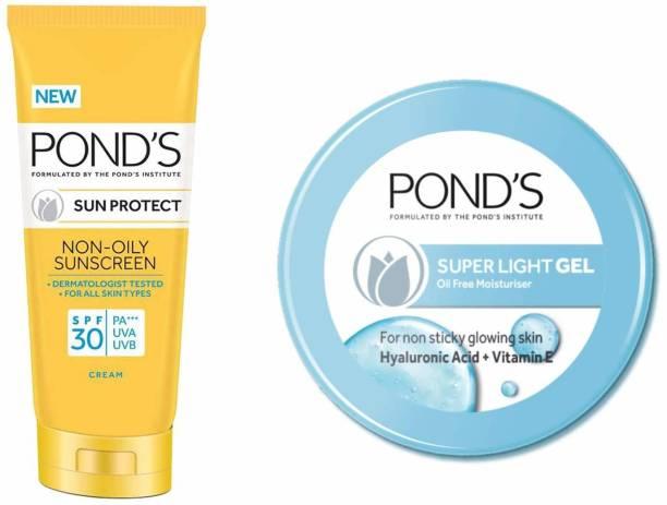 PONDS Pond'S Super Light Gel Moisturiser, 147 G And Pond'S Sun Protect Non-Oily Sunscreen Spf 30, 80 G