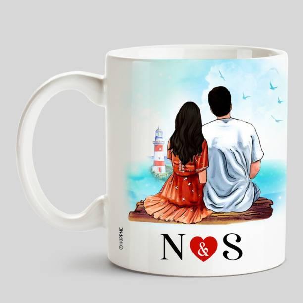 HUPPME Couple Name Initials N & S White Ceramic Coffee Ceramic Coffee Mug