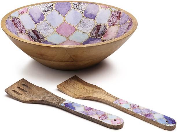 Woodsmyths Epicuria Salad Bowl with Spatula - Exotic Moroccan Decal Print (Set of 3 Pcs) Bowl, Ladle Serving Set