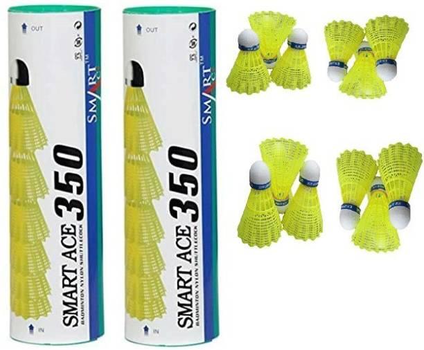 SMARTACE BADMINTON SHUTTLE COCK PACK OF 12 PCS Nylon Shuttle  - Green
