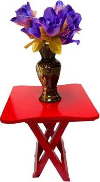 Wooden Art &Toys 12 INCHES GLOSSY MULTICOLOUR PAINTED Solid Wood Side Table