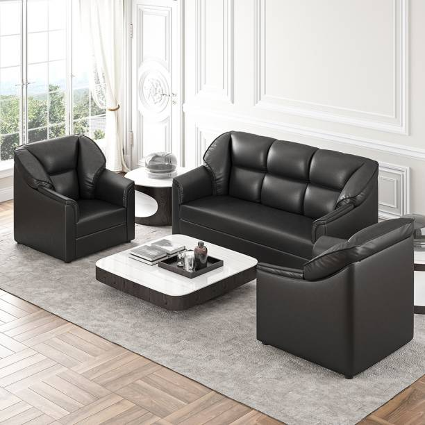 WESTIDO Godrej Leatherette 3 + 1 + 1 Black Sofa Set
