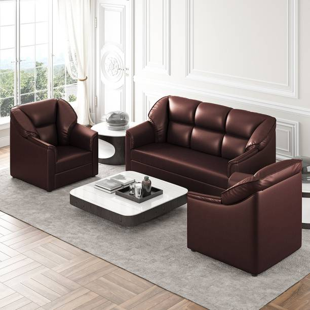 WESTIDO Cyrus Leatherette 3 + 1 + 1 Brown Sofa Set