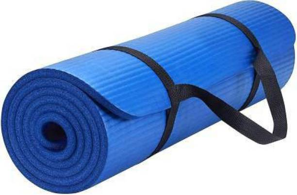 Unique Decor [BLUE-STRAP]Mat for Women & Men – EVA Eco Friendly Non Slip Blue Classic Pro Exercise Mat for Home Workout Pilates Floor Exercises. 6 mm Yoga Mat