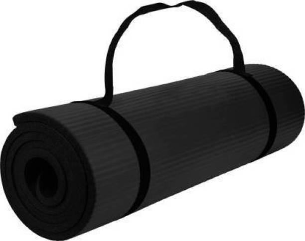 Unique Decor [BLACK-STRAP]Mat for Women & Men – EVA Eco Friendly Non Slip Black Classic Pro Exercise Mat for Home Workout Pilates Floor Exercises. 6 mm Yoga Mat