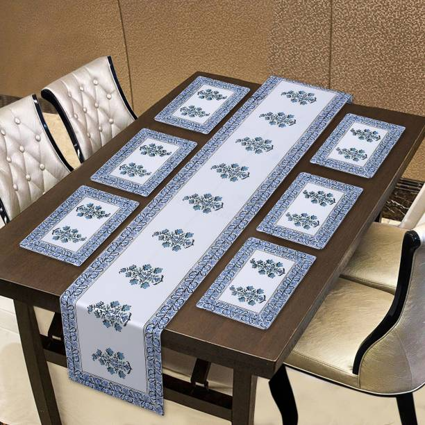 INDHOME LIFE White, Light Blue Organic Cotton Table Linen Set