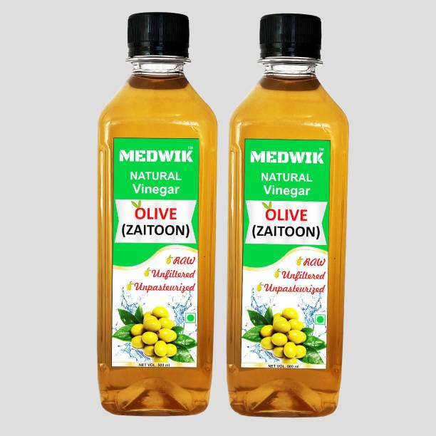 MEDWIK Pure Natural Olive Vinegar, Zaitoon Sirka Vinegar Pack of 2 Each 500 ml Vinegar