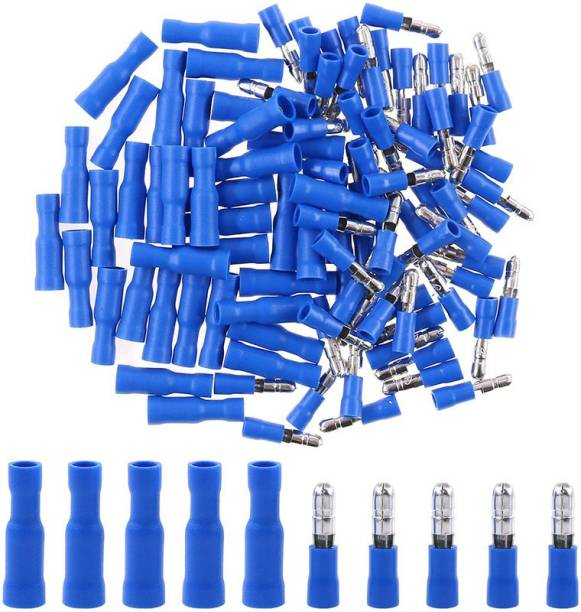 RPI SHOP Fully Insulated Male Female Bullet Wire Connector, Electrical Crimp Terminals, ( MPD 2-156, FRD 2-156) Each 25 Pcs Each Pack of 50 Pcs (Blue) Bullet Wire Connector Wire Connector