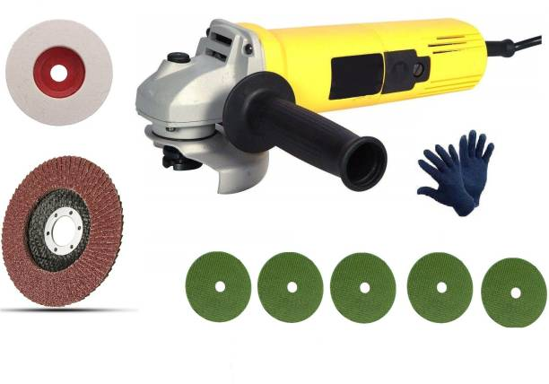 Tulsway High Quality 850 W Angle Grinder Machine with GLOVES 5pc cutting 1pc Felt and 1pc Flap wheel set (Pack of 5) Angle Grinder Angle Grinder