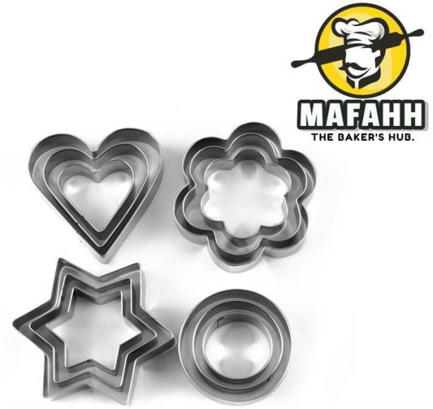 MAFAHH 12 Pieces Cookie Cutter Set, Pastry Fruit Molds Stainless Steel Heart Flower Round Star Biscuit Mould Fondant Cutting Cutters, Baking Tools, 4 Different Shapes and 3 Sizes - 12 Pcs Cookie Cutter
