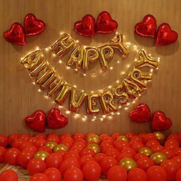 Magic Balloons Solid Happy Anniversary combo 78 piece set (16 letter of happy anniversary + 60 piece gold + red + blue balloon Balloon Balloon