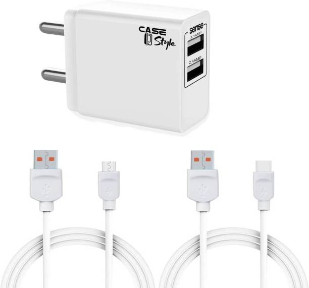 CaseStyle CH-11 2.4A Wall Charger with Dual USB Port Travel and Detachable Micro USB 2.4 A Multiport Mobile Charger with Detachable Cable