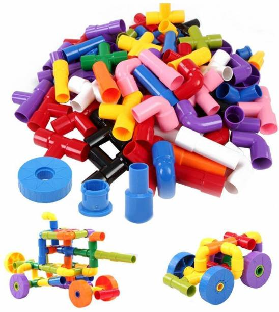 Rachana Enterprise Special Edition Multi Coloured Educational Play and Learn Plastic Building Block Set and Pipes Puzzle Set