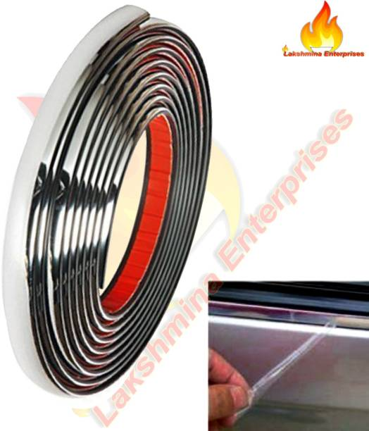 Lakshmina Enterprises Chrome For Car Exterior Moulding Trim Strip and Styling (10 mm ) Car Beading Roll For Car Beading Roll For Window, Door, Hood, Window Sill