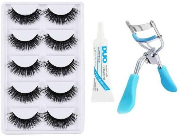 Geemy False Eyelashes-Set of 5, Eyelashes Glue & Eyelash Curler