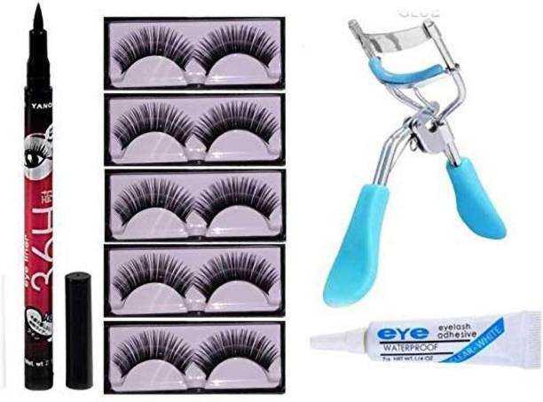 Geemy 5 Pair False Eyelash, Glue, Curler and 36 Hrs Black eyeliner