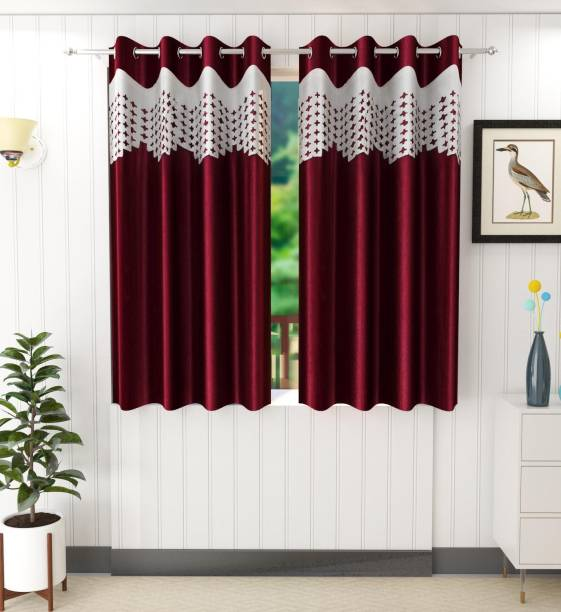 Tanishka Fabs 153 cm (5 ft) Polyester Window Curtain (Pack Of 2)