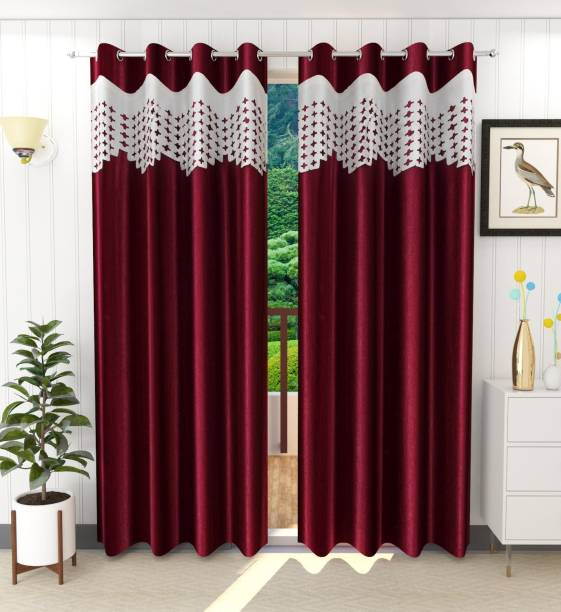 Tanishka Fabs 214 cm (7 ft) Polyester Door Curtain (Pack Of 2)
