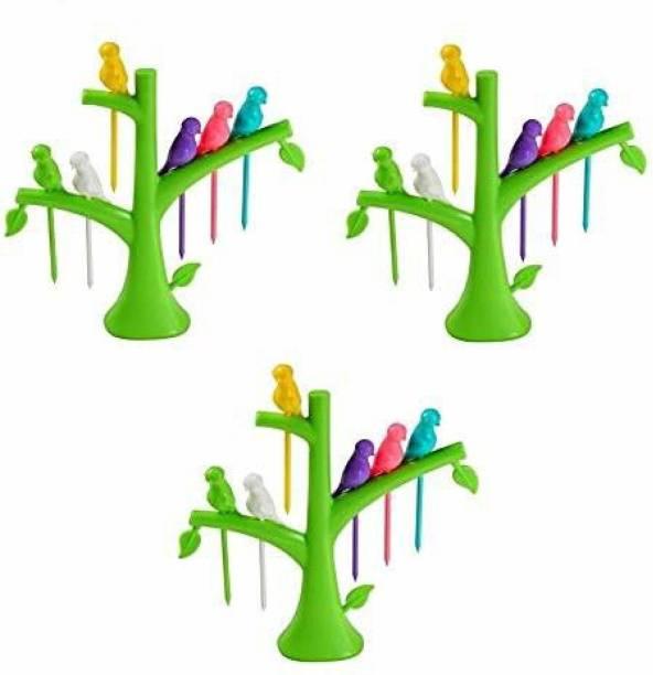 winger Plastic Bird Fruit Fork Set of 3 with Tree Stand, Set of 18 Fork Plastic Fruit Fork Set Plastic Fruit Fork Set