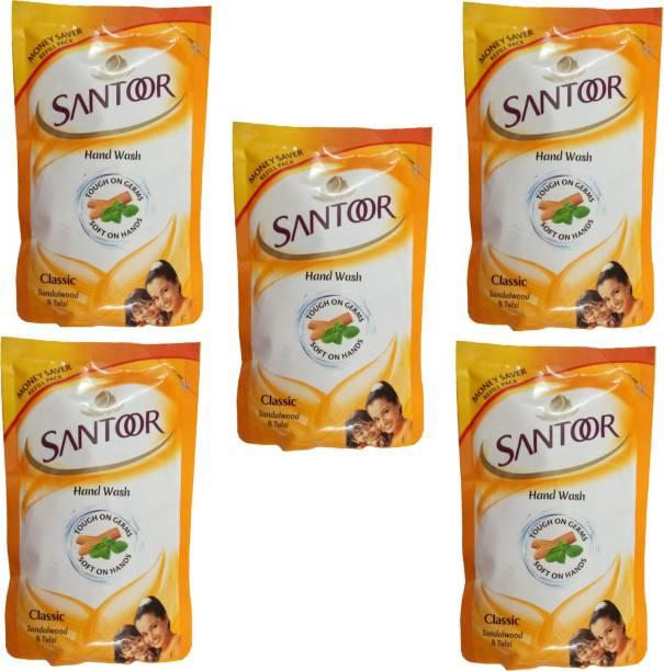 santoor Gentle hand wash classic sandalwood tulsi 5X180ml Hand Wash Pouch