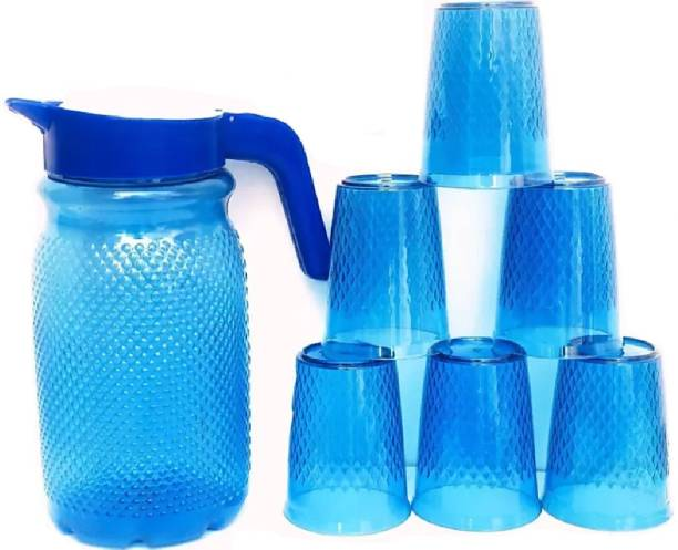 Adorn 1.5L plastic water jug-with 6 glass-blue color-premium quality-pack of 7 Jug Glass Set