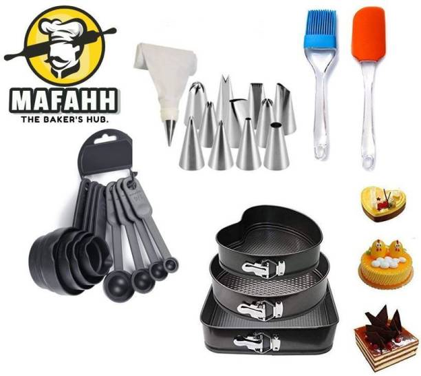 MAFAHH Combo 1 3 Different Shaped Cake Moulds With Silicone Brush and Spatula and 12 Piece Cake Decorating Nozzle Set Kitchen Tool Set