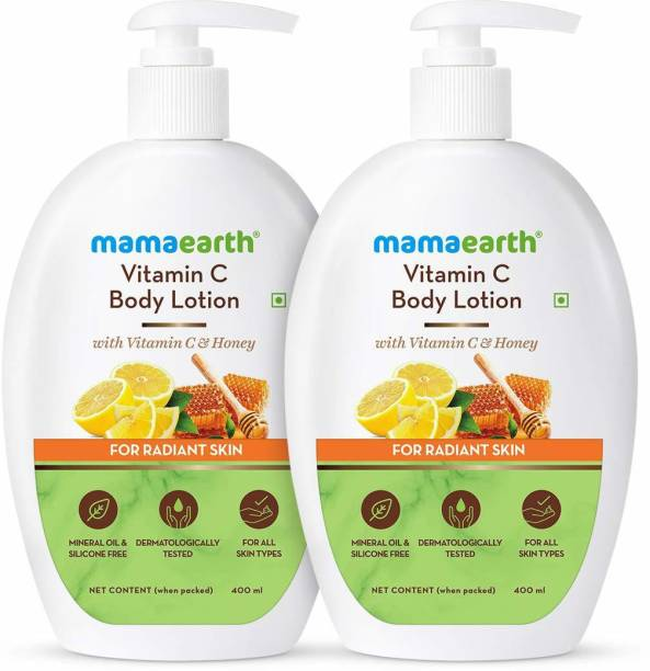 MamaEarth Vitamin C Body Lotion - Pack of 2 (400ML+400ML)