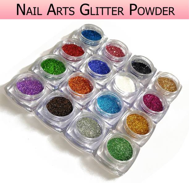 VOZWA Colourful Sparkles Shining Nail Fabulous Art Glitter Powder 16 Pcs
