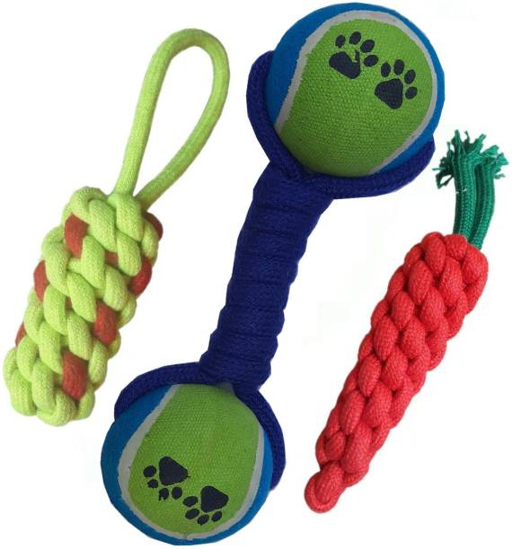 GuptasSons Durable Pet Teeth Cleaning Chewing Biting Knotted, Carrot, Dumbbell Toys for Small Puppys Cotton Chew Toy, Training Aid, Ball, Rubber Toy, Soft Toy For Dog