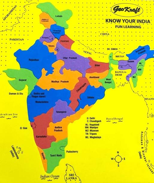 GeoKraft India Map with States Eva Foam Jigsaw Puzzle - Educational Learning Toy for Boys and Girls