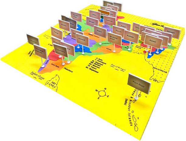 GeoKraft India Map with States, Capitals and Union Territory Eva Foam Jigsaw Puzzle - Educational Learning Toy for Boys and Girls