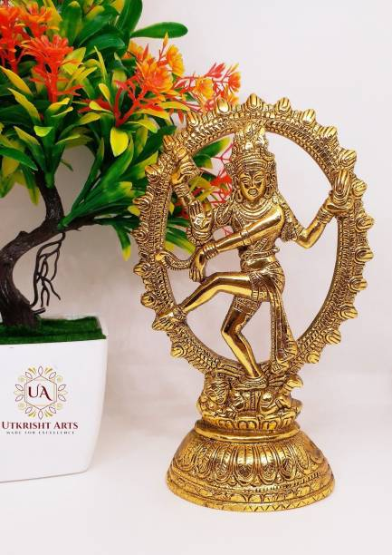 Utkrisht Arts Natraj (Shiva) Statue of Brass Finish Decorative Hindu idol Gift Decorative Showpiece  -  21 cm