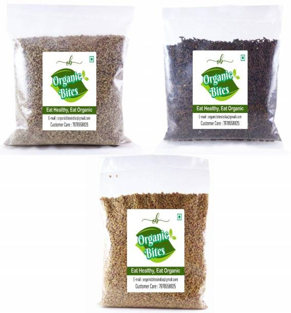 Organic Bites Methi, Ajwain, Kali Jeeri Combo Pack (400 grams)