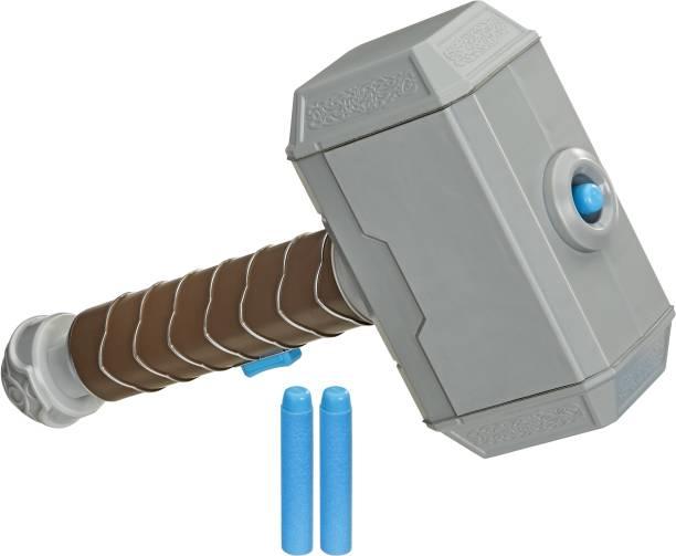 MARVEL NERF Power Moves Avengers Thor Hammer Strike Hammer NERF Dart-Launching Toy for Kids Roleplay