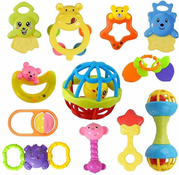 PEZYOX Colorful Non Toxic Baby Rattle Teether Toys Set of 12 Pcs Colourful Lovely Attractive Rattles Babies Toddlers Infants Children Silicon Non Toxic Free Rattles Teether (Multicolor) (12 Pcs) Rattle
