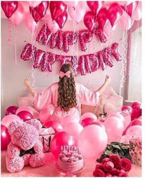 PAHUJA Solid Solid HAPPY BIRTHDAY PINK FOIL BALLOON 13 PCS ,50 PCS HD METALLIC BALLOONS PINK AND LIGHT PINK ,pack 63 Balloon
