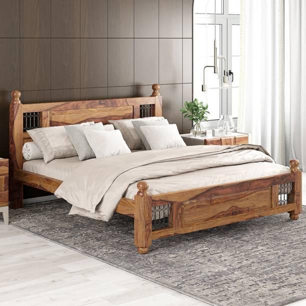 Meera Handicraft Sheesham Wood Solid Wood King Bed