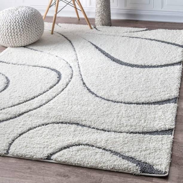 RM Handloom White Polyester Carpet