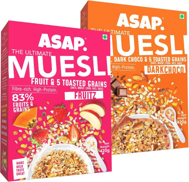ASAP Wholegrain Muesli Offer Combo | 420g x 2 packs| Dark Choco + Fruitz | High Protein Breakfast Muesli with Almonds, Dark Choco & 5 Toasted Grains |Low Fat Cereal with Strawberry, Raisins, Dried Papaya, Apple & 5 Toasted Grains | Healthy Multigrain Granola with Nuts | Omega-3 & Fibre rich