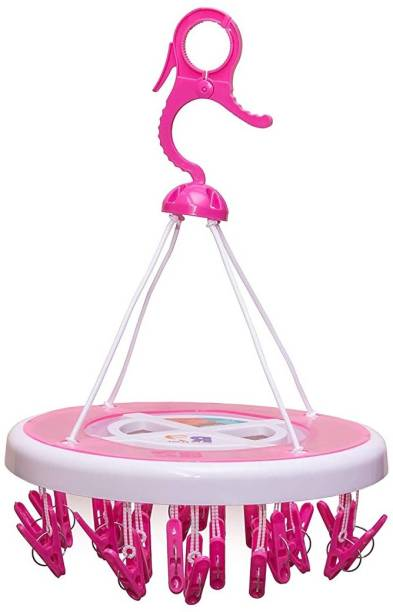 Starbust River Plast Cloth Drying Stand Hanger with 24 Clips/pegs, Baby Clothes Hanger Stand, Round Plastic Cloth Clips