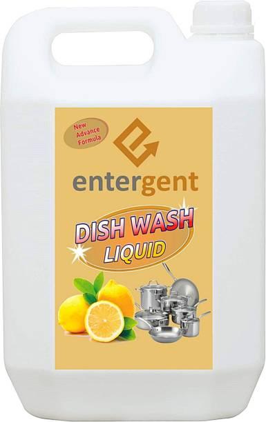 ENTERGENT Dishwash Gel 5Liter | Best Use For Utensil Wash | Dual Power Cleaning pH Balance Formula Soft On Hand | Clean & Hygiene Dish Cleaning Gel (Lemon 5 L) Dish Cleaning Gel