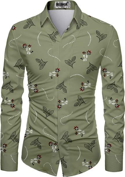 BUHA Cotton Polyester Blend Floral Print Shirt Fabric
