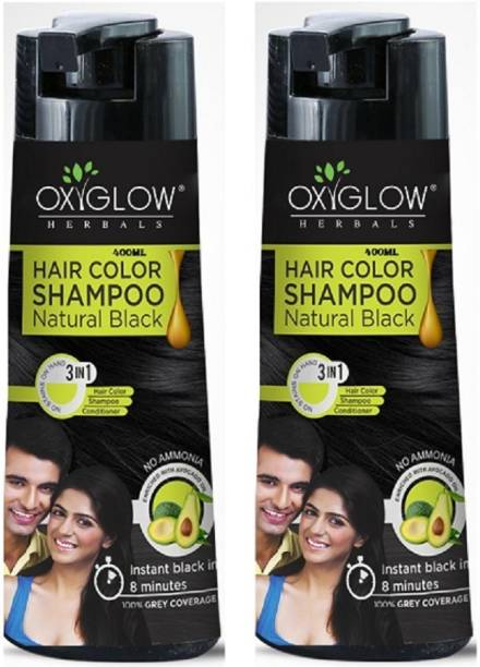 OxyGlow Cosmetics 3 in 1 Hair Color Shampoo Natural Black-400ml(pack of 2)No ammonia , BLACK