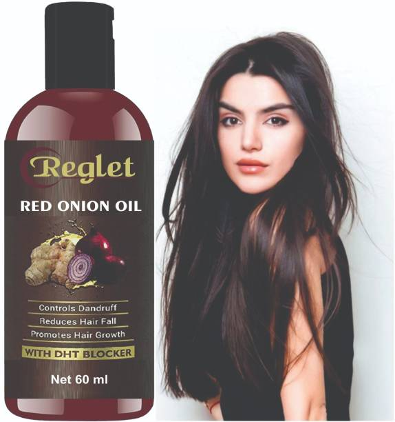 REGLET Onion Hair Oil with 14 Essential Oils for Hair Regrowth, Dandruff Control , Black Seed - Hair Care|Growth & Shine|Tea Tree Oil|Omega- 3|Vitamin-E , For Hair Growth | Blend Of Multiple Essential Oils Hair Oil