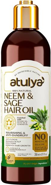 Atulya Neem & Sage Hair Oil - Silicones, Parabens, Mineral Oil Free (100% Natural) Hair Oil