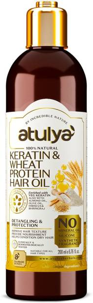 Atulya Keratin & Wheat Protein Hair Oil - Silicones, Parabens, Mineral Oil Free (100% Natural) Hair Oil