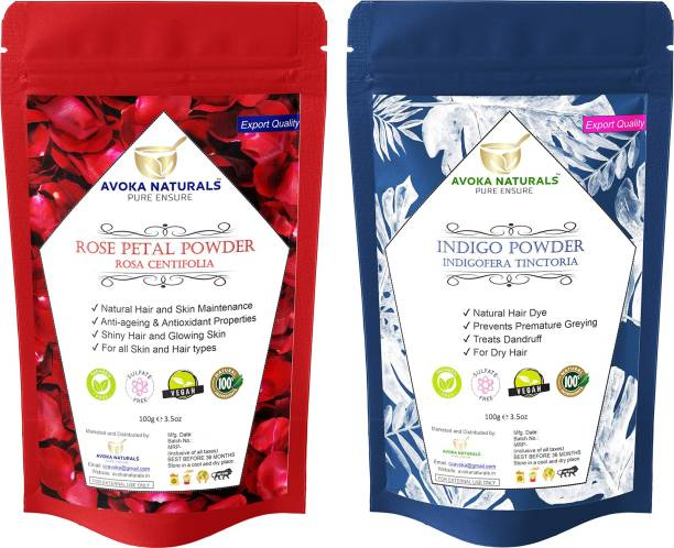 Avoka Naturals Rose petals and Indigo powder for Complete Hair and Skin Care Treatment (100g X Pack of 2)
